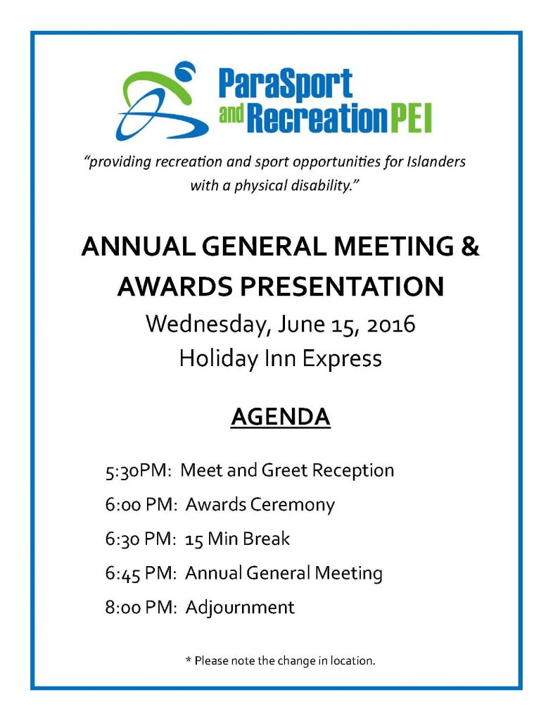 ParaSport and Recreation PEI AGM & Awards Ceremony @ Holiday Inn Express Charlottetown