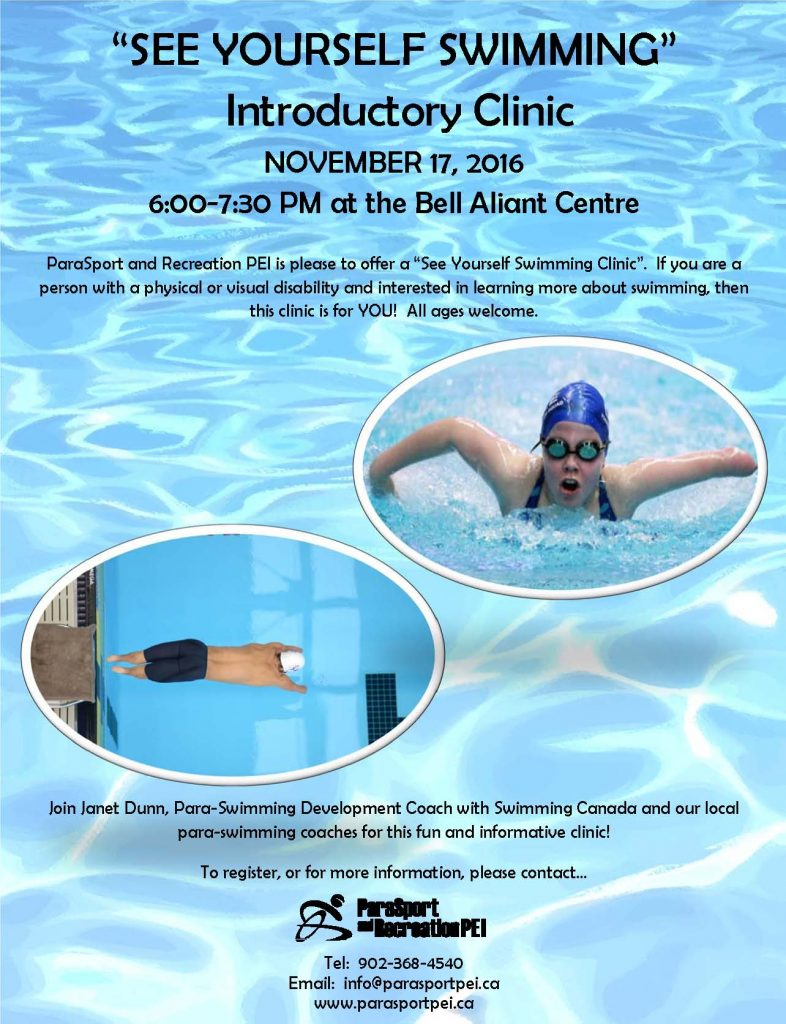"""See Yourself Swimming"" Clinic @ Bell Aliant Centre 