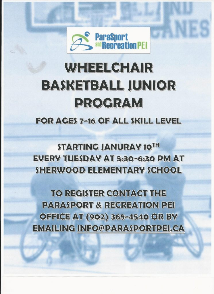 Jr.  Wheelchair Basketball Program @ Sherwood Elementary