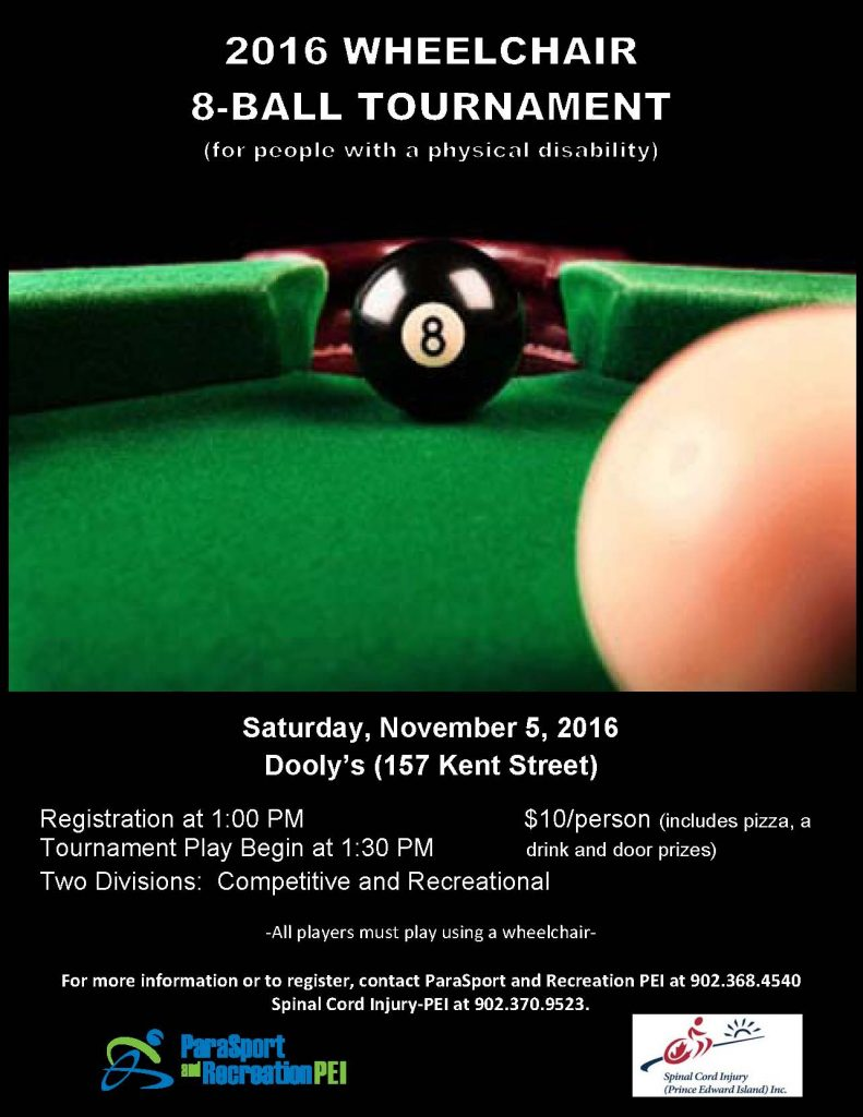 Wheelchair 8Ball Tournament for people with a disability on November 5th, 2016